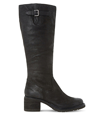 Dune Tedmund Knee-high Distressed Leather Boots In Black-leather