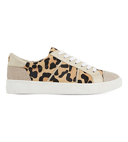 Dune Egypt Leather Sneakers In Leopard-pony