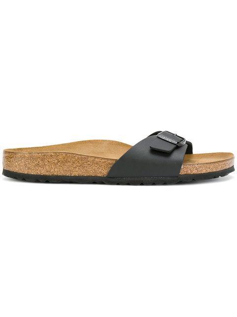 Birkenstock Madrid Birko-flor(tm) Slide Sandal In Black Faux Leather