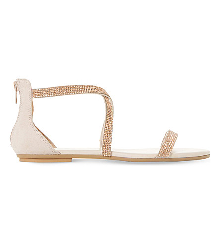 Dune Niftey Cross Strap Sandals In Blush-synthetic
