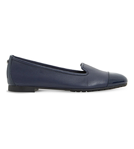 Dune Geneveve Leather Pumps In Navy-leather