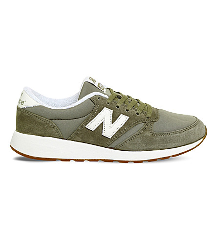 New Balance 420 Low-top Suede Trainers In Khaki White
