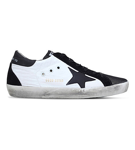 Golden Goose Superstar Leather And Mesh Sneakers In White/blk