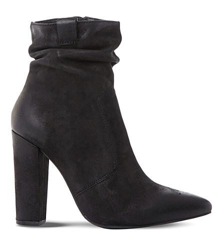 Steve Madden Ruling Sm Ruched Ankle Boots In Black-nubuck