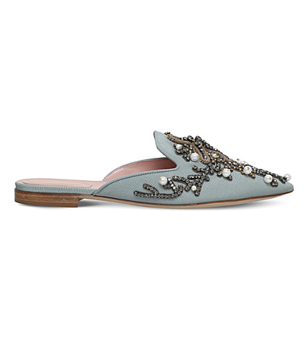 Mia Couture Pearl Embroidered Mules In Pale Blue