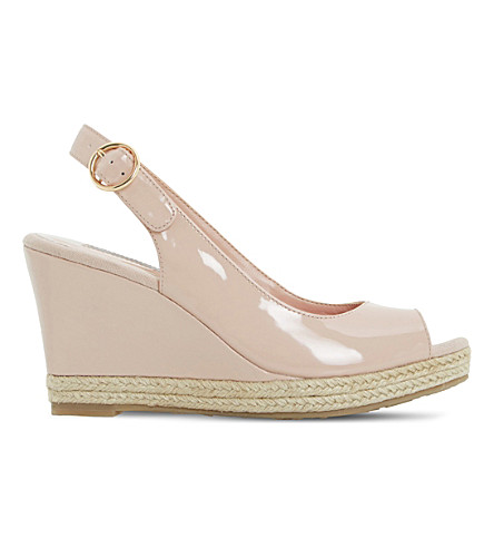 Dune Klick Espadrille Trim Leather Sandal In Nude-patent Synthetic