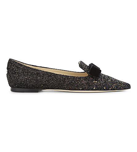 Jimmy Choo Gala Glitter Pointed-toe Flats In Rainbow/black