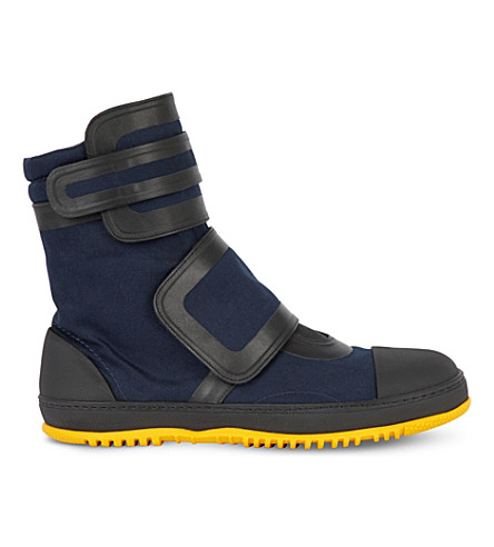 Marni Canvas And Rubber High-top Sneakers In Night Blue