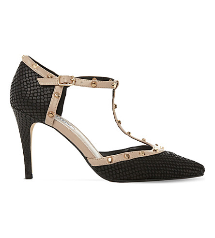 Dune Cliopatra Studded Leather T-bar Courts In Black-reptile
