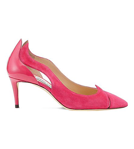Jimmy Choo Saga 65 Leather And Suede Cutout Courts In Pink/pink