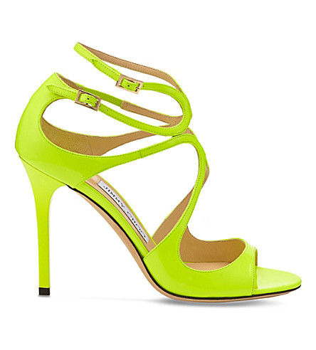 Jimmy Choo Lang 100 Patent-leather Heeled Sandals In Shocking Yellow