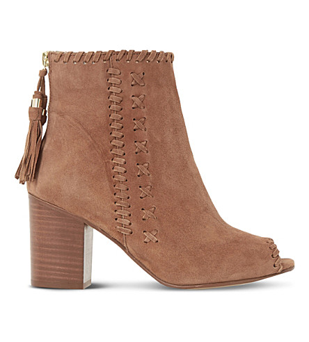 Dune Primrose Suede Peep-toe Ankle Boots In Tan-suede