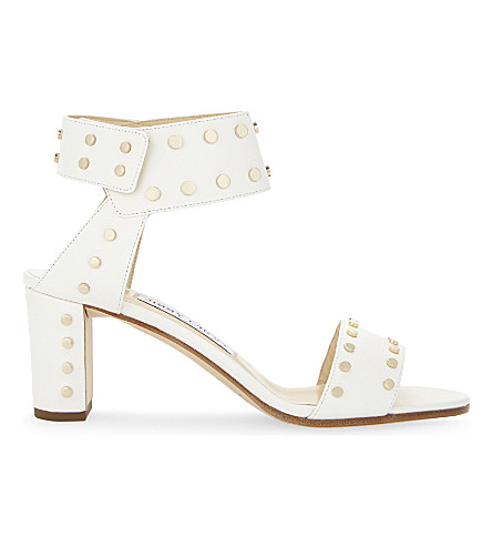 Jimmy Choo Veto 65 Leather Heeled Sandals In Chalk/gold