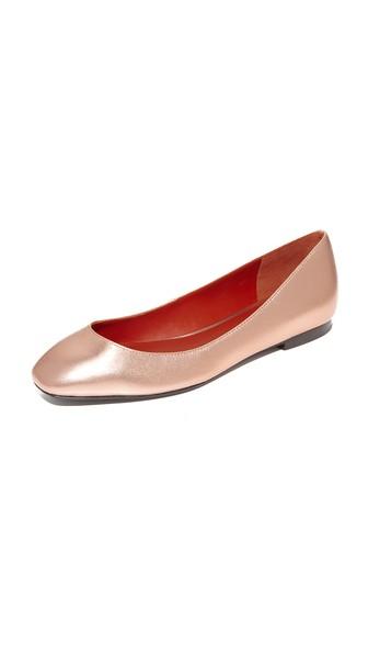 3.1 Phillip Lim Square Toe Ballet Flats In Rose Gold
