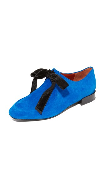 3.1 Phillip Lim Square Toe Lace Up Flats In Electric Blu