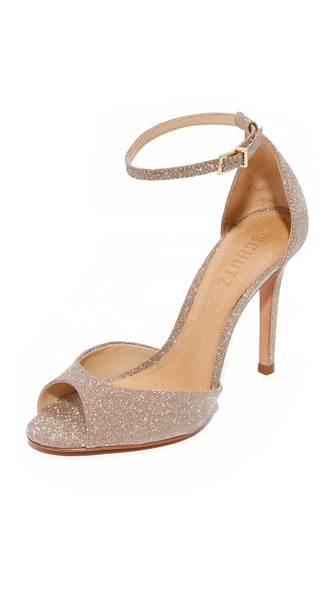 Schutz Saasha Lee Ankle Strap Sandal In Ouro