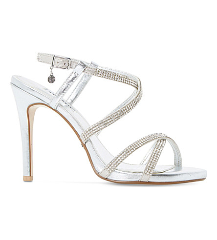 Dune Mansionn Leather High Heeled Sandals In Silver-leather