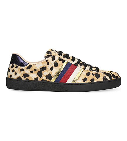 Gucci New Ace Leopard-Print Pony-Hair Trainers In Multi