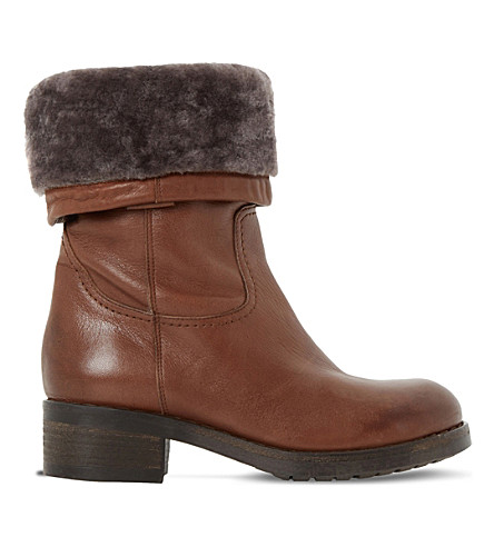 Dune Roderik Leather Calf Boots In Tan-leather