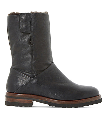 Dune Rayner Shearling-lined Leather Boots In Black-leather