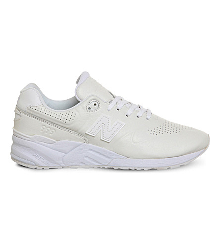 New Balance 999 Leather And Mesh Sneakers In White White