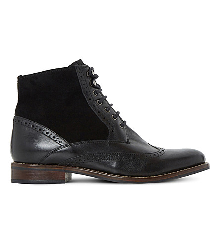 Dune Philomena Leather Brogue Ankle Boots In Black-leather
