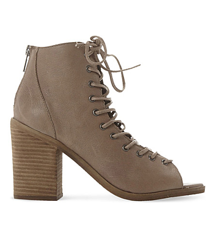 Steve Madden Tempting Peep-toe Ankle Boots In Stone-leather
