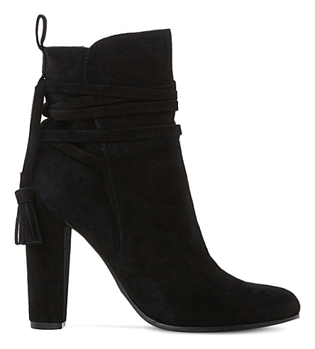 Steve Madden Glorria Suede Ankle Boots In Black-suede