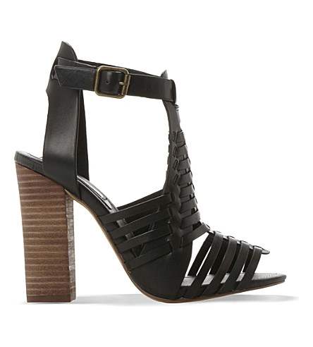 Steve Madden Sandrina Leather Heeled Sandals In Black-leather