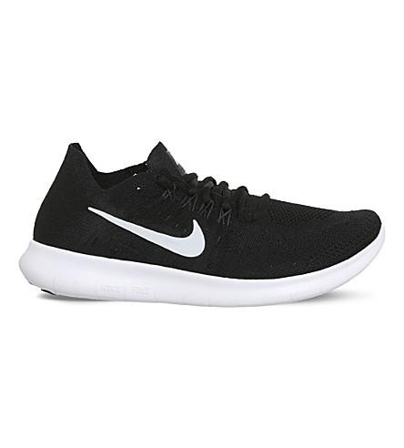 Nike Free Run 2 Flyknit Sneakers In Black White Grey