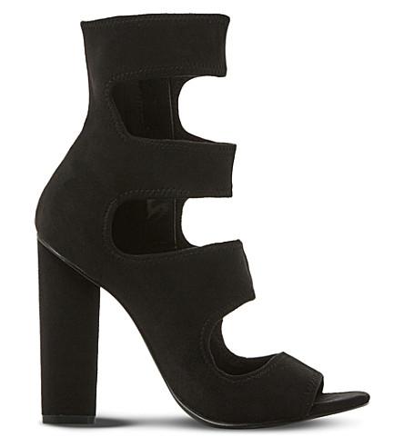 Steve Madden Tawnie Multi-strap Suede Sandals In Black-suede