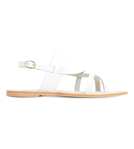 Dune Luccia Strappy Sandals In White-leather