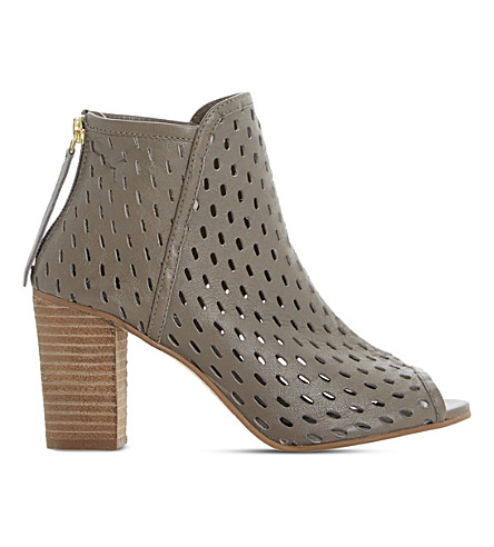 Dune Iola Perforated Leather Sandals In Taupe-leather