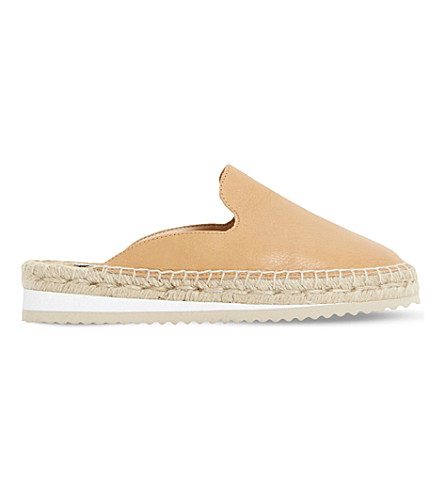 Dune Geniee Leather Backless Espadrilles In Tan-leather