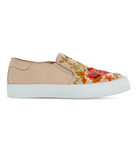 Dune Evanni Embroidered Leather Skate Shoes In Blush-leather