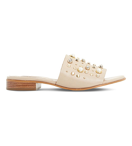 Dune Linz Pearl And Stud Trim Mules In Nude-leather