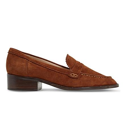 Dune Gandy Zigzag-trim Suede Loafers In Dark Tan-suede