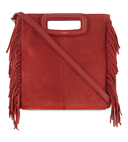 Maje M Suede Cross-body Bag In Corail