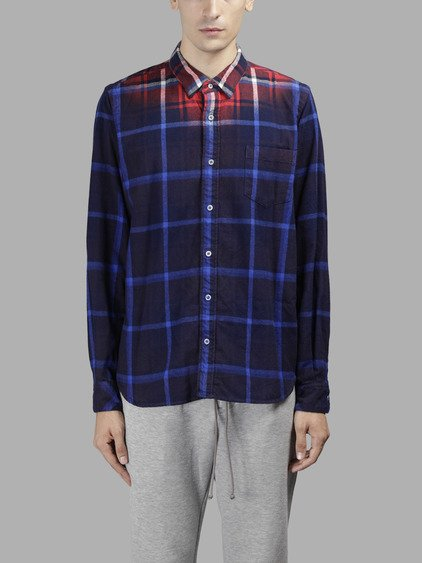 Sacai Dip-dyed Checked Cotton-flannel Shirt In Multicolor