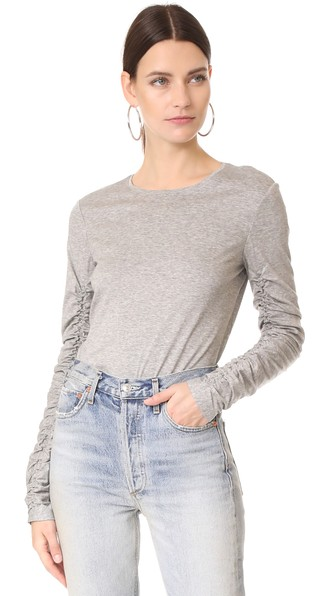 Tibi Ruched Long Sleeve Tee In Heather Grey