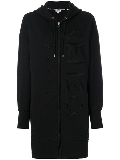 Kenzo Embroidered Long-length Hoodie In Black
