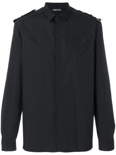 Neil Barrett Military Shirt With Faux-suede Epaulets In Black