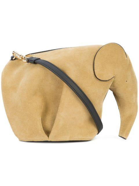 Loewe Elephant Mini Suede Cross-body Bag In Brown