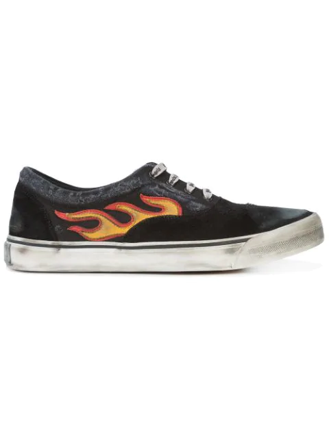 Palm Angels Flame-appliquÉ Distressed Canvas And Suede Trainers In Black
