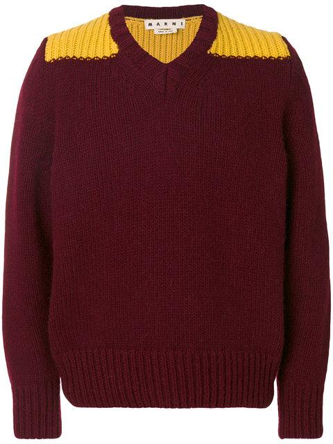 Marni V-neck Sweater In Red