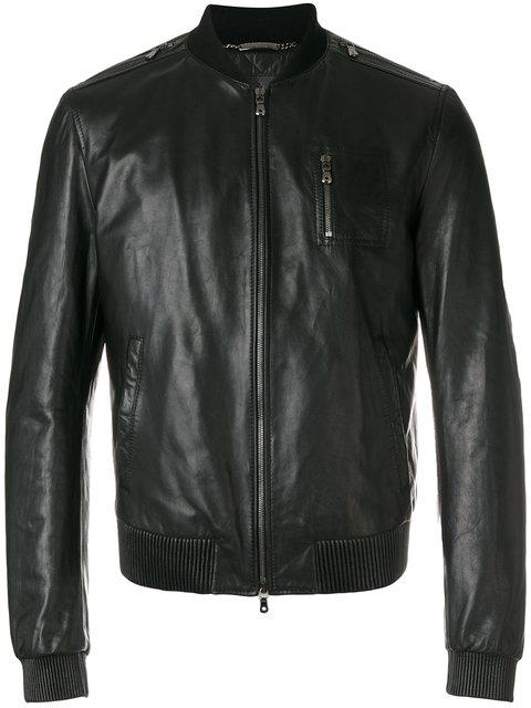 Dolce & Gabbana Ribbed-collar Leather Bomber Jacket In Black