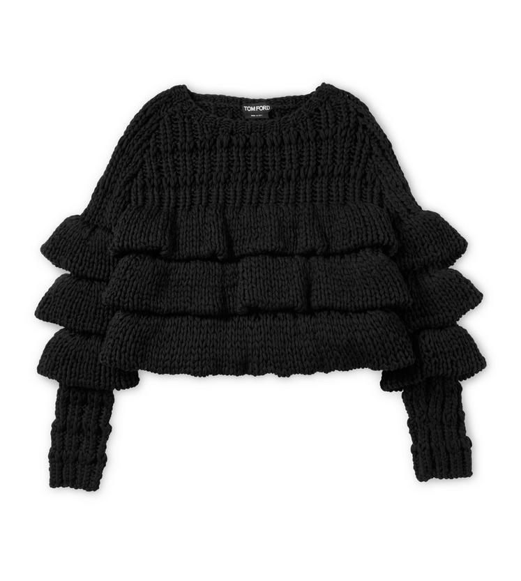 Tom Ford Cropped Layered Wool Sweater In Black