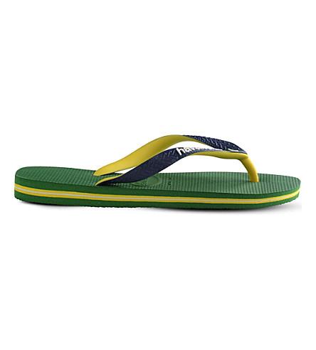 Havaianas Brazil Logo Rubber Flip-flops In Green/navy Blue