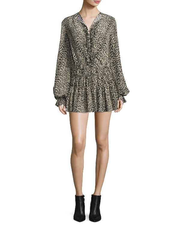 50b1fc3cf56 Saint Laurent Leopard-Print Silk Flounce Minidress In Brown Pattern ...