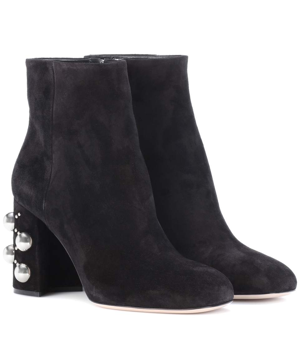 Miu Miu Embellished Suede Ankle Boots In Nero